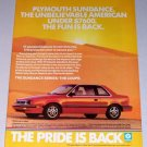 1987 Plymouth Sundance Series Coupe Automobile Color Print Car Ad