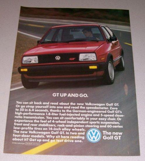 1986 VW Volkswagen Golf GT Automobile Color Print Car Ad