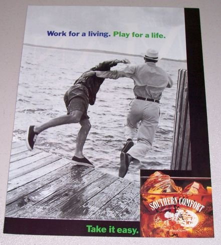 1995 Southern Comfort Whiskey Lake Boat Dock Color Print Ad