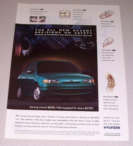 1995 Hyundai Accent Automobile Print Car Ad