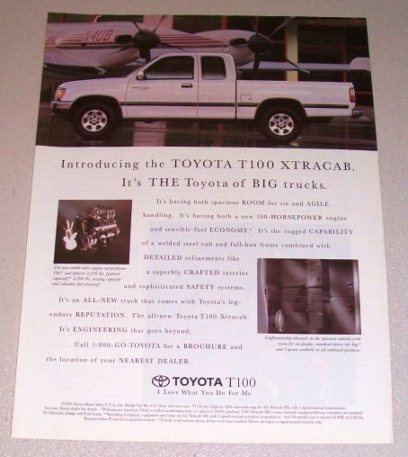 1994 Color Print Truck Ad for 1995 Toyota T100 Xtracab Pickup