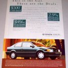 1995 Toyota Tercel Automobile Color Print Car Ad