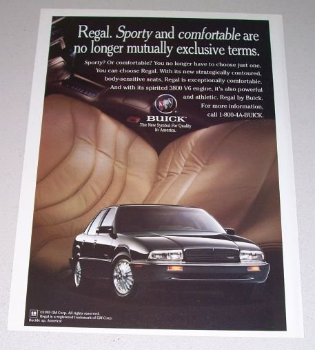 1995 Buick Regal Automobile Color Print Car Ad