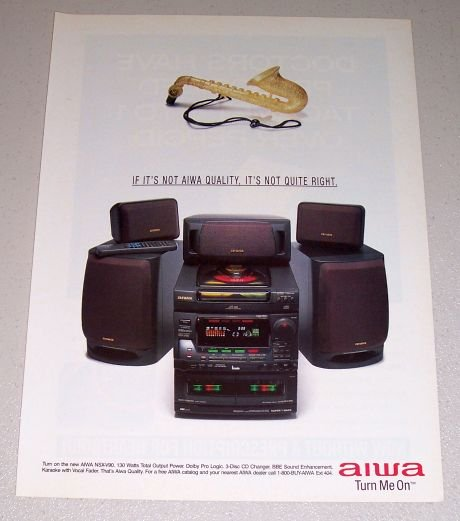 1995 AIWA NSX-V90 Home Audio Mini System Color Print Ad