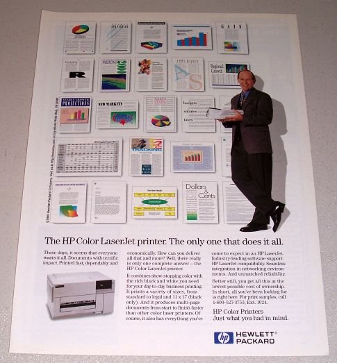 1995 Hewlett Packard HP LaserJet Printer Color Print Ad