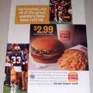 1995 Burger King Restaurant Whopper Value Meal Football Color Print Ad