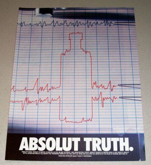 1995 Absolut Vodka Lie Detector Color Print Liquor Ad - Absolut Truth