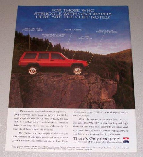 1995 Jeep Cherokee Sport 4x4 SUV Color Print Truck Ad