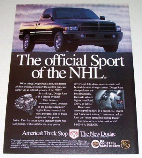 1995 Dodge Ram Sport Pickup Color Print Truck Ad