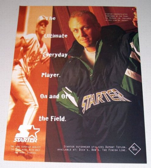 1995 Starter Outerwear Line-Up Jacket Color Print Ad Orioles MLB Baseball Celebrity Cal Ripkin