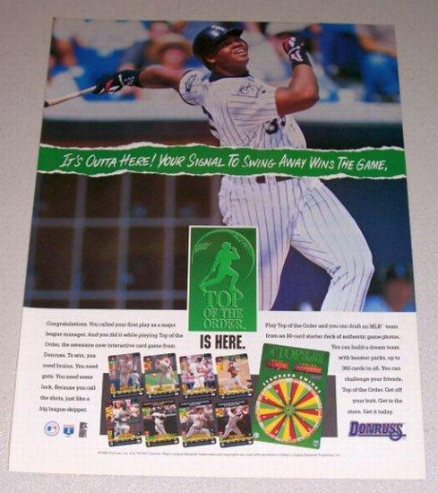 1995 DONRUSS Top of the Order Card Game Color Print Ad MLB Baseball Celebrity Frank Thomas