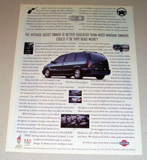 1995 Nissan Quest Mini Van Color Print Car Ad