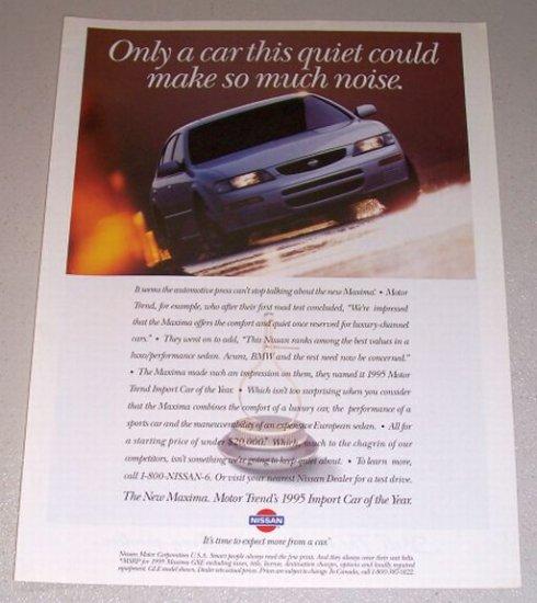 1995 Color Print Car Ad Nissan Maxima Automobile