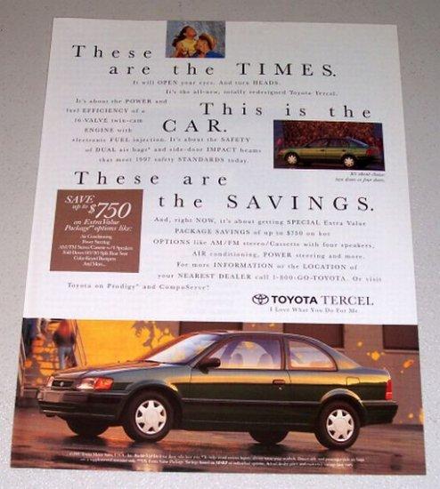 1995 Color Print Car Ad Toyota Tercel Automobile