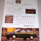 1995 Color Print Car Ad Toyota Tercel Automobile