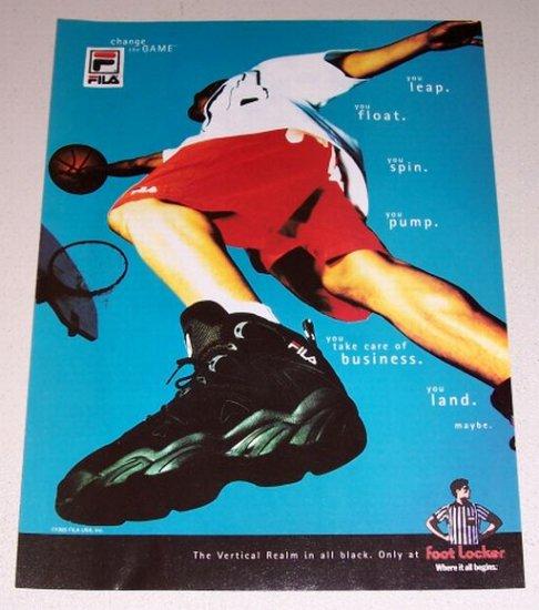 1995 Foot Locker Fila Vertical Realm Shoes Color Print Ad
