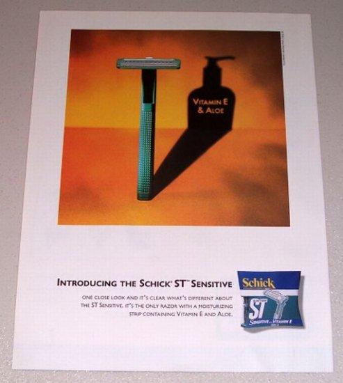 1995 Schick ST Sensitive Shaving Razor Color Print Ad