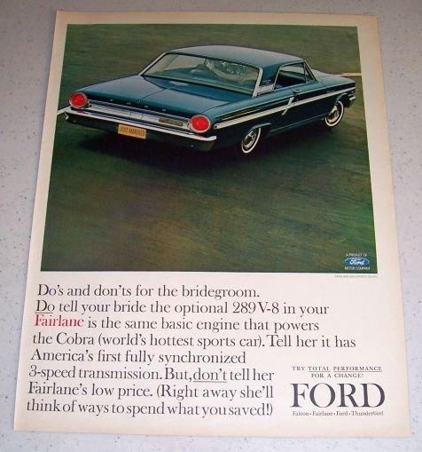 1964 Ford Fairlane 500 Sports Coupe Automobile Color Car Ad