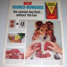 1964 GF Gaines Burgers Dog Food Color Ad