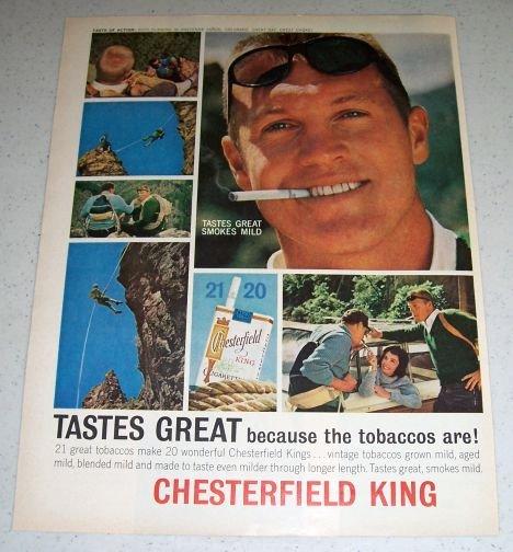 1964 Chesterfield King Tobacco Cigarettes Color Ad