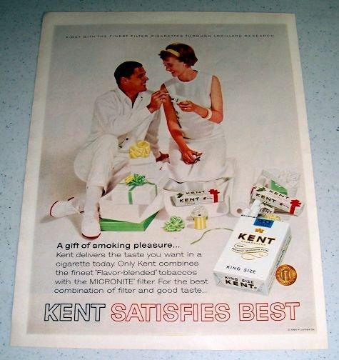 1964 Kent King Size Tobacco Cigarettes Color Ad