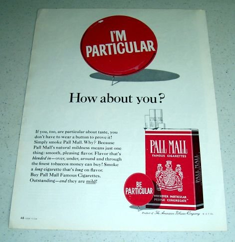 1964 Pall Mall Tobacco Cigarettes Color Ad