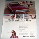1964 Color Ad for 1965 Plymouth Sport Fury Convertible Automobile