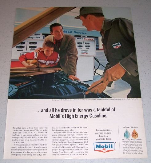1964 MOBIL Gasoline Color Ad Mr Kenneth McKinley New Hyde Park NY