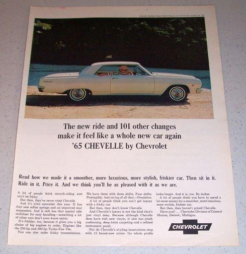 1964 Color Car Ad for 1965 Chevrolet Chevelle Malibu Super Sport Coupe Automobile