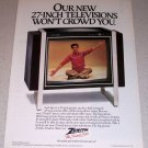 1985 Zenith 27in Color Television Model SB2737Y Color Ad