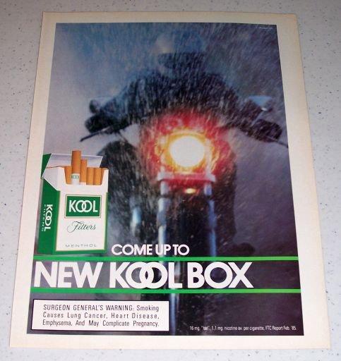 1985 Kool Filters Menthol Cigarettes Color Tobacco Ad
