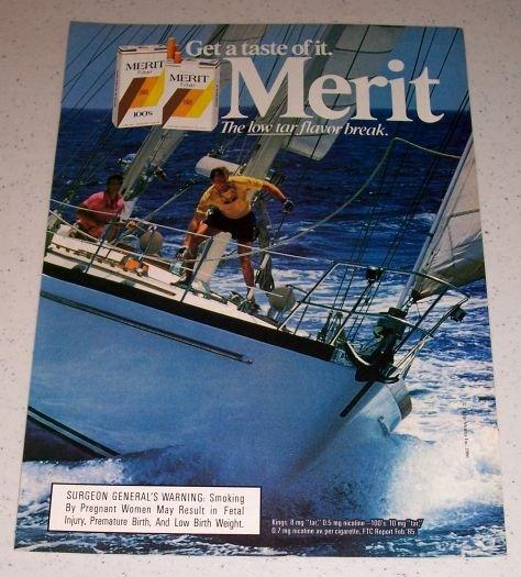 1986 Merit Cigarettes Boat Sailing Themed Color Ad