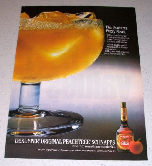 1986 Dekuyper Peachtree Schnapps Color Liquor Ad
