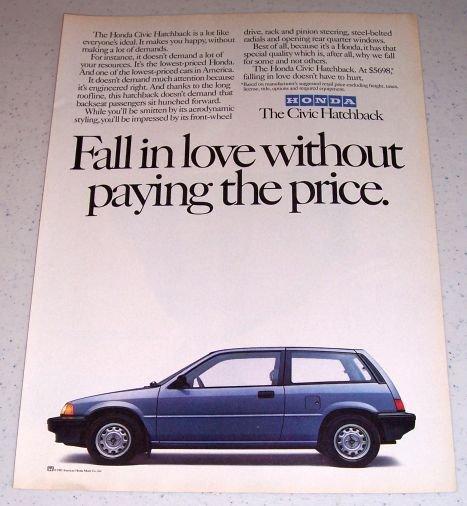 1985 Honda Civic Hatchback Automobile Color Car Ad