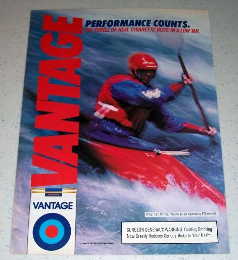 1986 Vantage Cigarettes Kayak Watersports Themed Color Ad