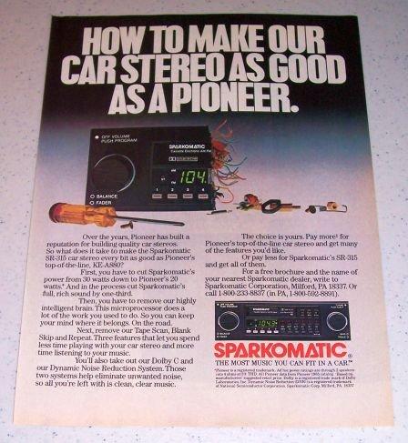 1986 Sparkomatic SR-315 Car Stereo Color Ad