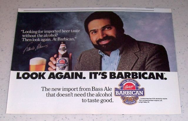 1986 Bass Barbican Beer Color Ad NFL Football Celebrity Franco Harris
