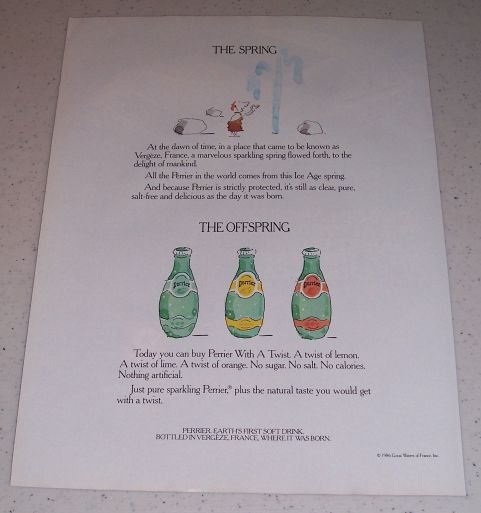 1986 Perrier Soft Drink Color Beverage Art Ad