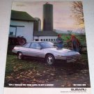 1986 Subaru Turbo XT Automobile Farming Themed Color Car Ad