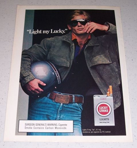 1986 Lucky Strike Lights Cigarettes Color Tobacco Ad