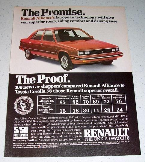 1986 Renault Alliance DL European Automobile Color Car Ad