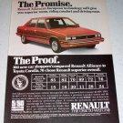1986 Renault Alliance DL European Automobile Color Car Ad