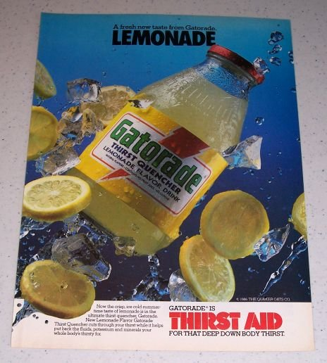 1986 Gatorade Lemonade Flavor Drink Color Ad
