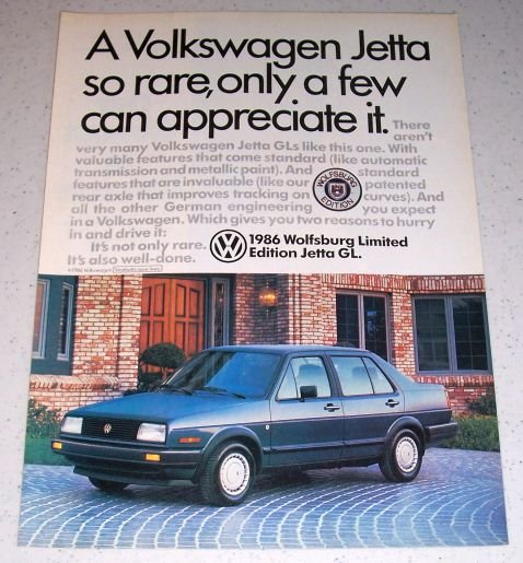 1986 VW Volkswagen Wolfsburg Limited Edition Jetta GL Automobile Color Car Ad