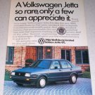 1986 VW Volkswagen Wolfsburg Limited Edition Jetta GL Automobile Color Car Ad