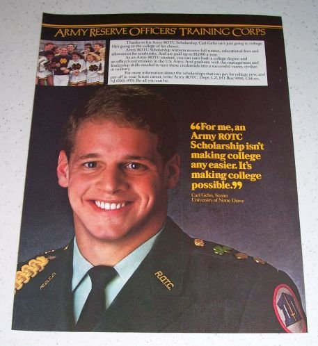 1986 ARMY Reserve Officers Training Corps Color Ad Carl Gebo Notre Dame