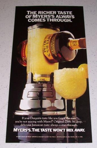 1986 Myer's Jamaican Rum Color Liquor Ad