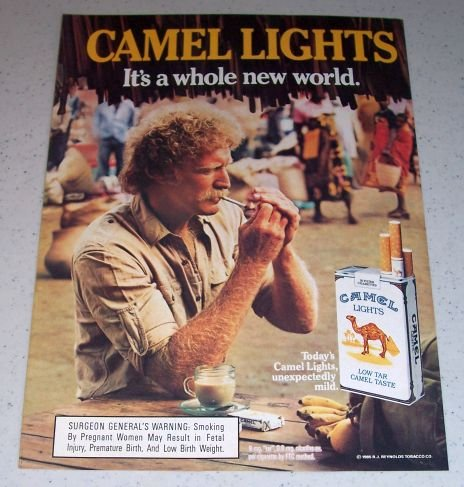 1985 Camel Lights Cigarettes Color Tobacco Ad