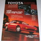 1986 Toyota MR2 Automobile Color Car Ad