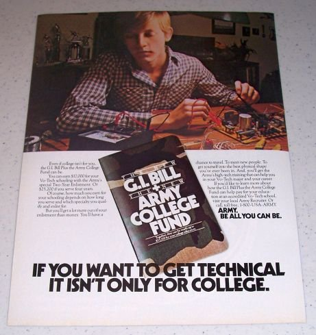 1986 ARMY GI Bill Army College Fund Color Ad